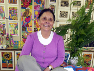 Alexis Hanslo of the Children's Art Centre - Alexis has brought art education to the children in Kylemore on a monthly basis since 2001